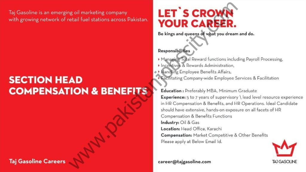 Taj Gasoline Jobs Section Head Compensation & Benefits