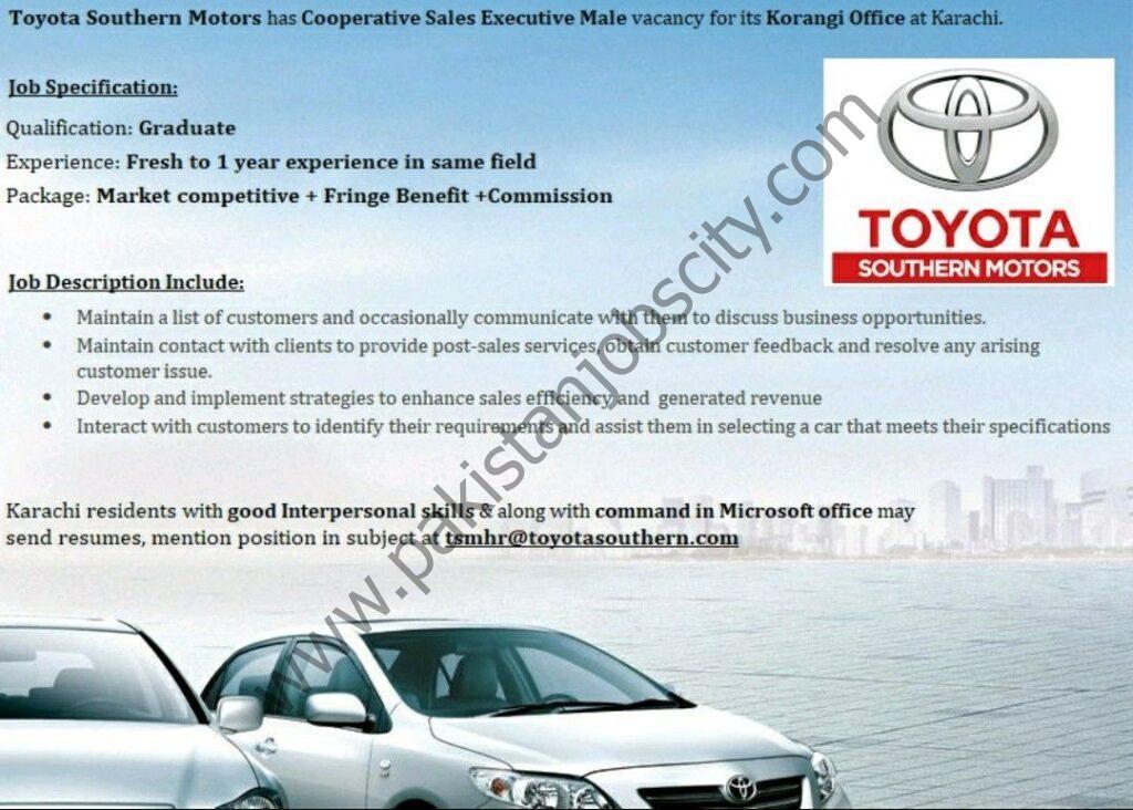 Toyota Southern Motors Jobs Cooperative Sales Executive