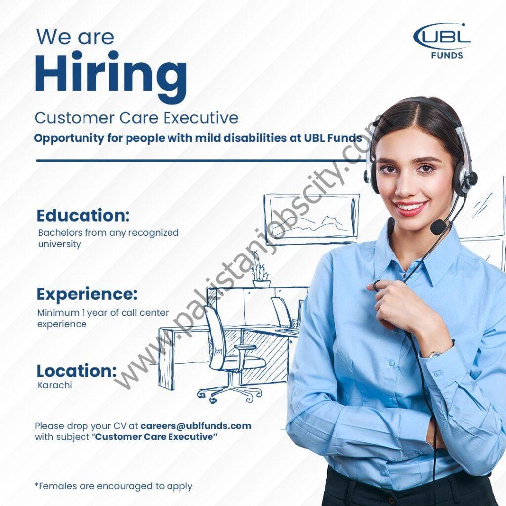 UBL Funds Manager Jobs Customer Care Executive
