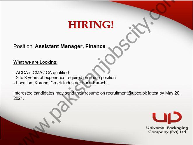 Universal Packaging Jobs Assistant Manager Finance