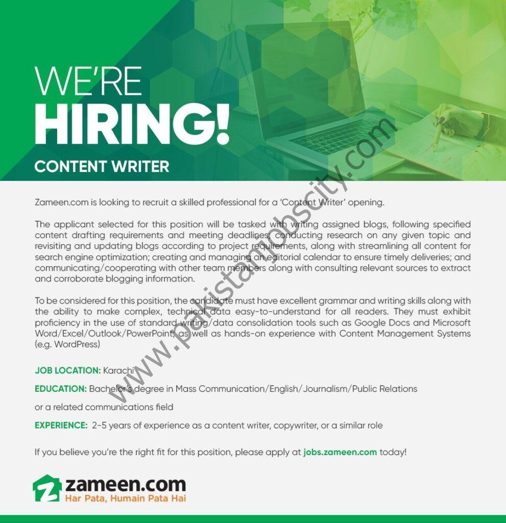 Zameen Pakistan Jobs Content Writer