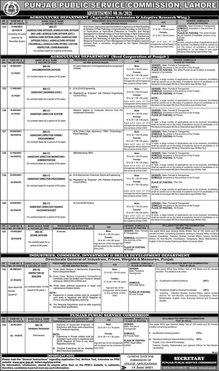 PPSC New Jobs 2021 - Advertisement No. 16/2021