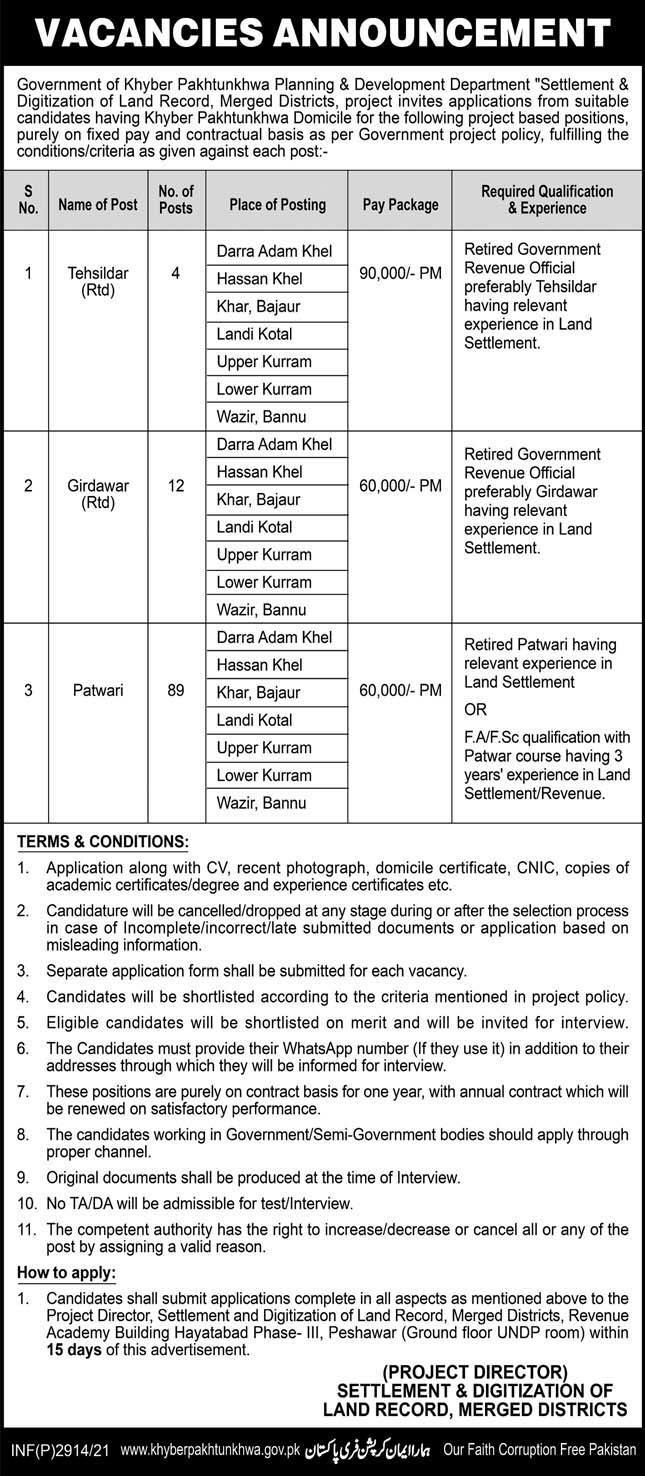 Jobs in KPK Planning and Development Department in June 2021