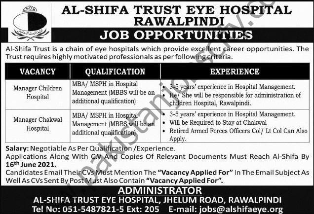 Al Shifa Trust Eye Hospital Jobs June 2021