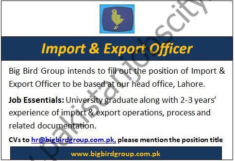 Big Bird Group Jobs Import & Export Officer