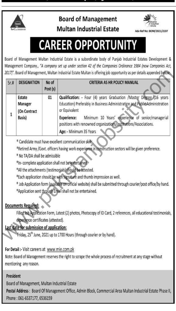 Board of Management Multan Industrial Estate Jobs 06 June 2021 Express Tribune