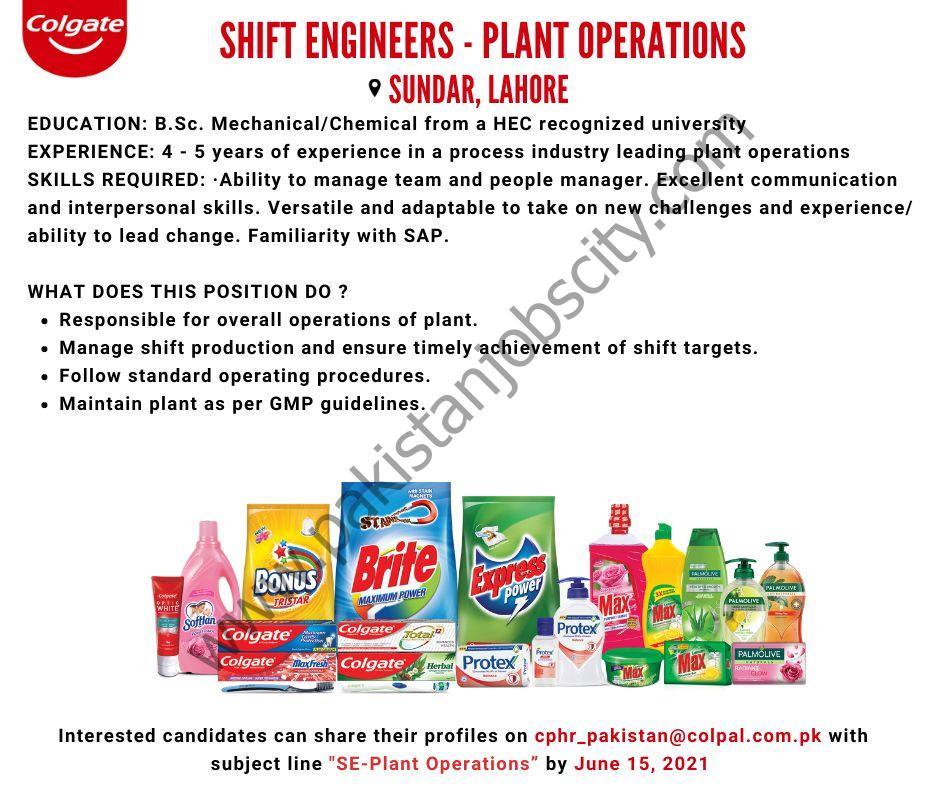Colgate Palmolive Pakistan Ltd Jobs Shift Engineers