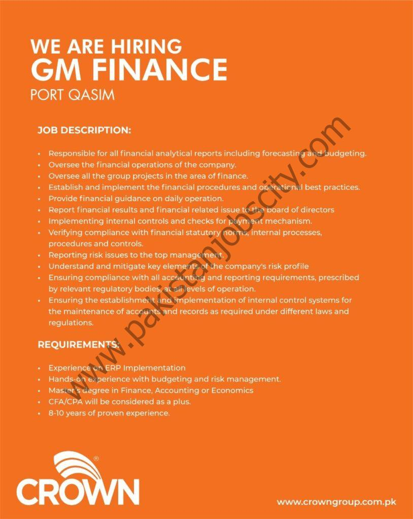 Crown Group of Companies Jobs General Manager Finance