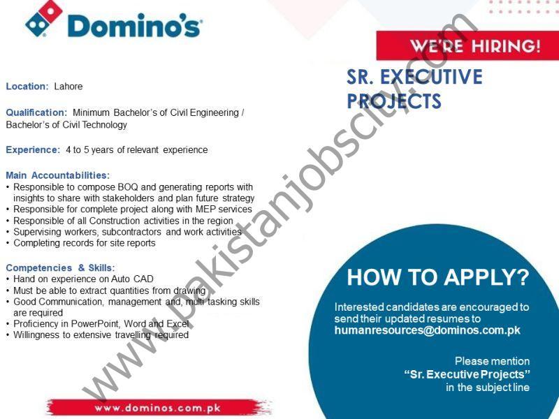 Domino's Pizza Pakistan Jobs Senior Executive Projects