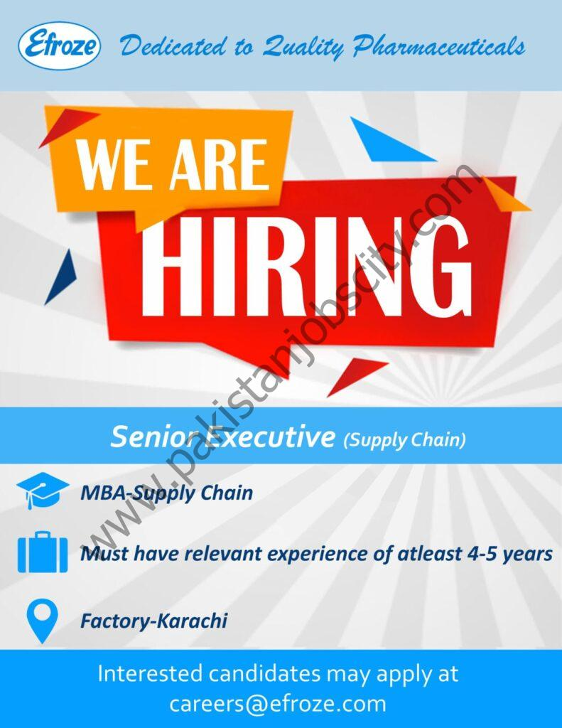 Efroze Chemical Industries Pvt Ltd Jobs Senior Executive Supply Chain