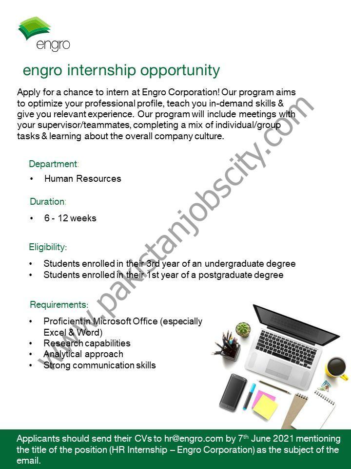 Engro Corporation HR Internship June 2021