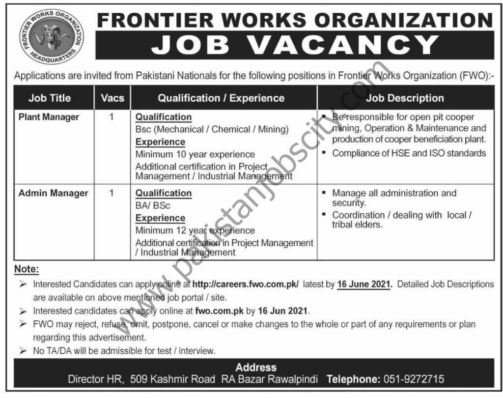 Frontier Works Organization FWO Jobs June 2021
