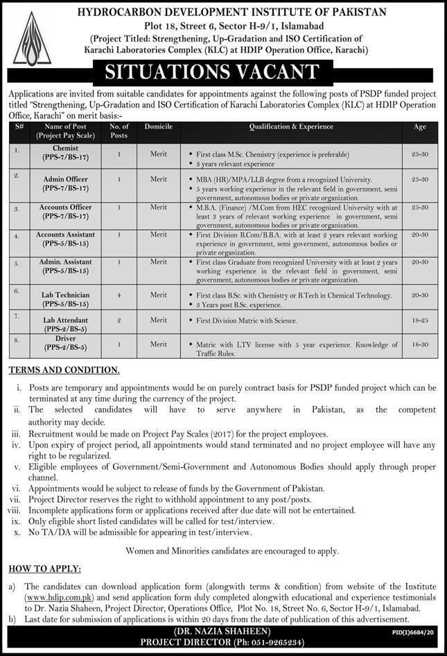 Hydrocarbon Development Institute of Pakistan Jobs 2021