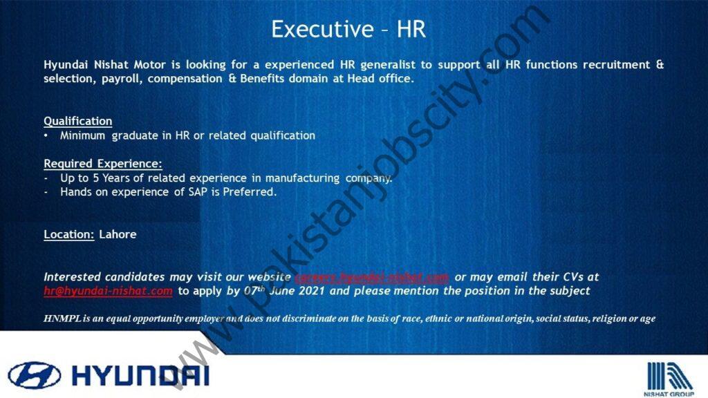 Hyundai Pakistan Jobs Executive HR