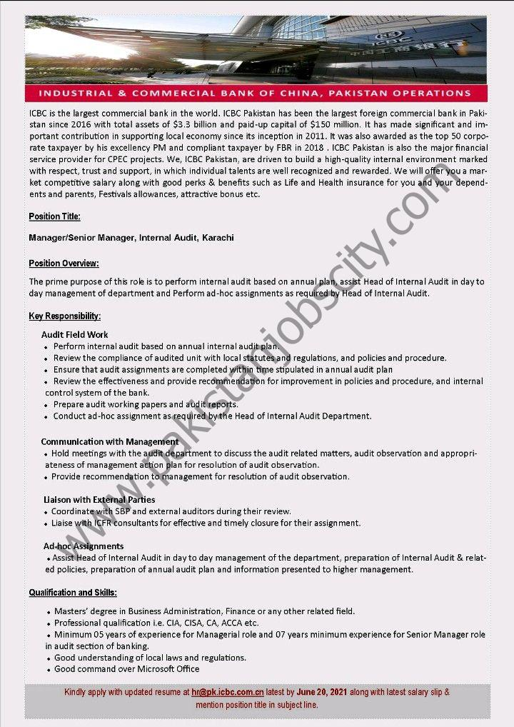 Industrial & Commercial Bank of China Ltd ICBC Jobs June 2021