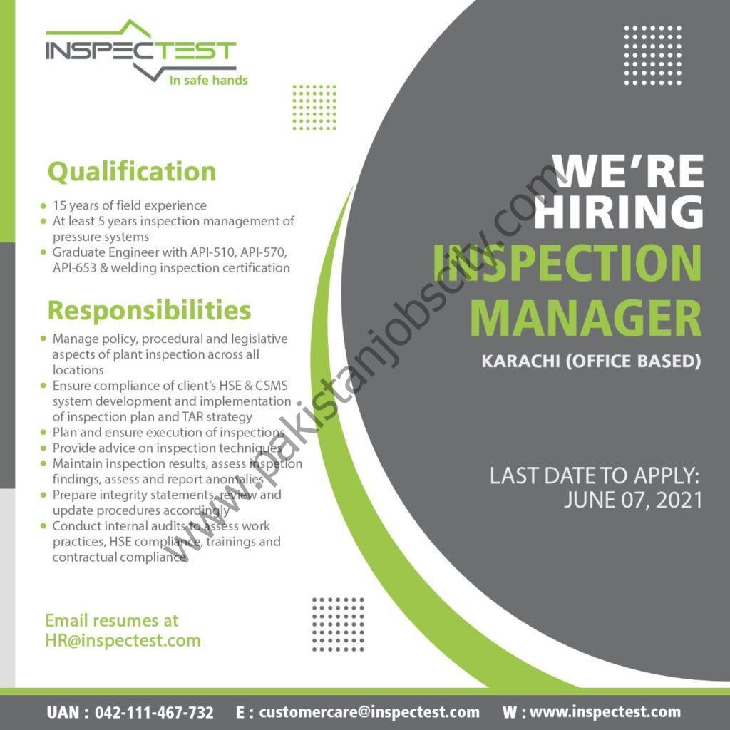 InspecTest Pvt Ltd Jobs Inspection Manager