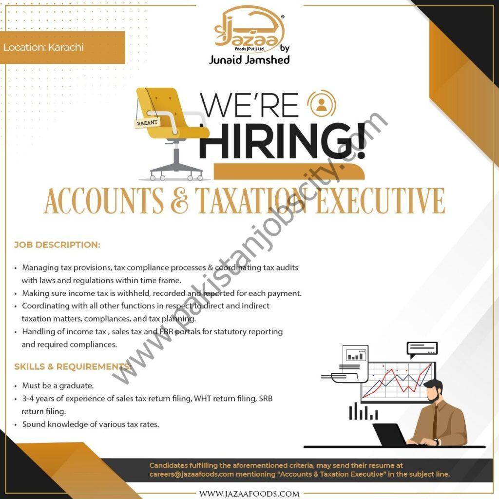 Jazaa Foods Pvt Ltd Jobs Accounts and Taxation Executive