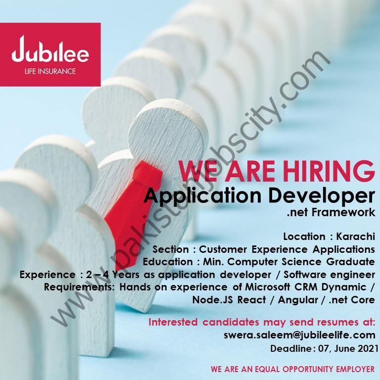 Jubilee Life Insurance Jobs Application Developer (.net Framework)