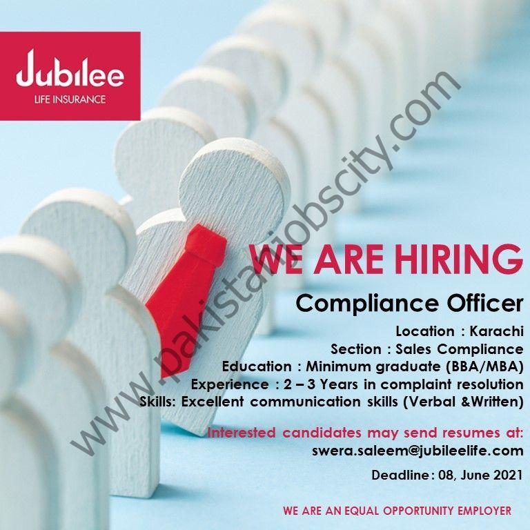 Jubilee Life Insurance Jobs Compliance Officer