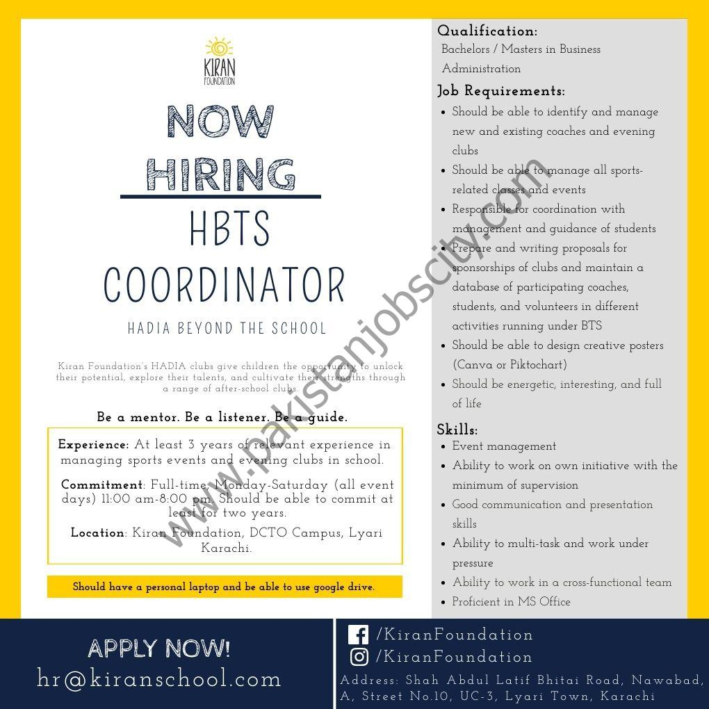 Kiran Foundation Jobs HBTS Coordinator