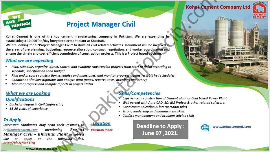 Kohat Cement Company Ltd Jobs Project Manager Civil