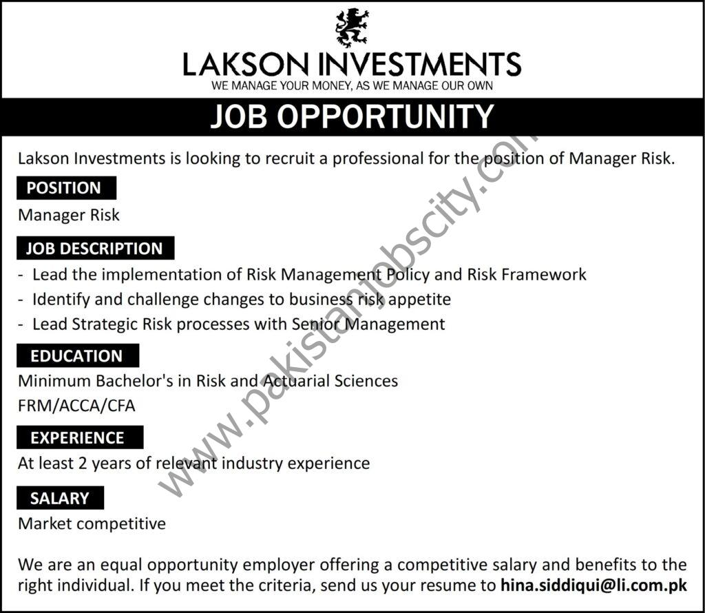 Lakson Investments Ltd Jobs Manager Risk