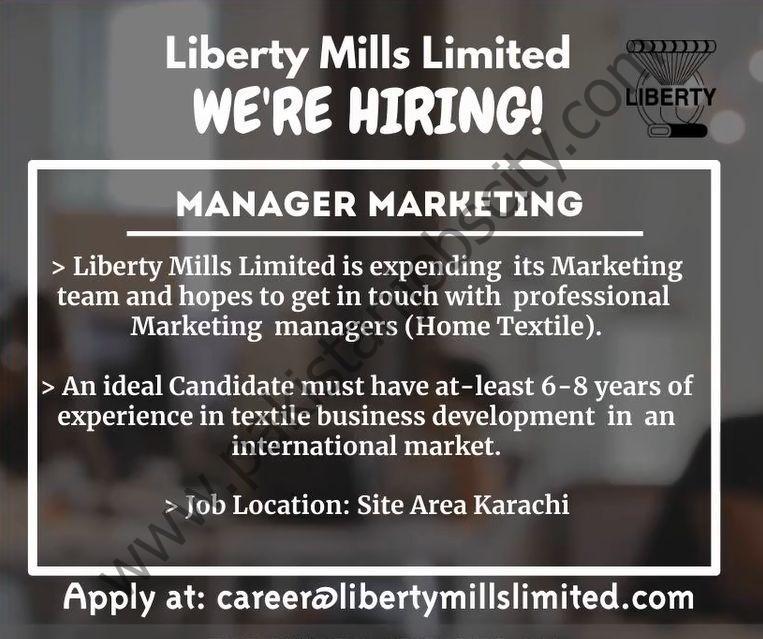 Liberty Mills Ltd Jobs Manager Marketing