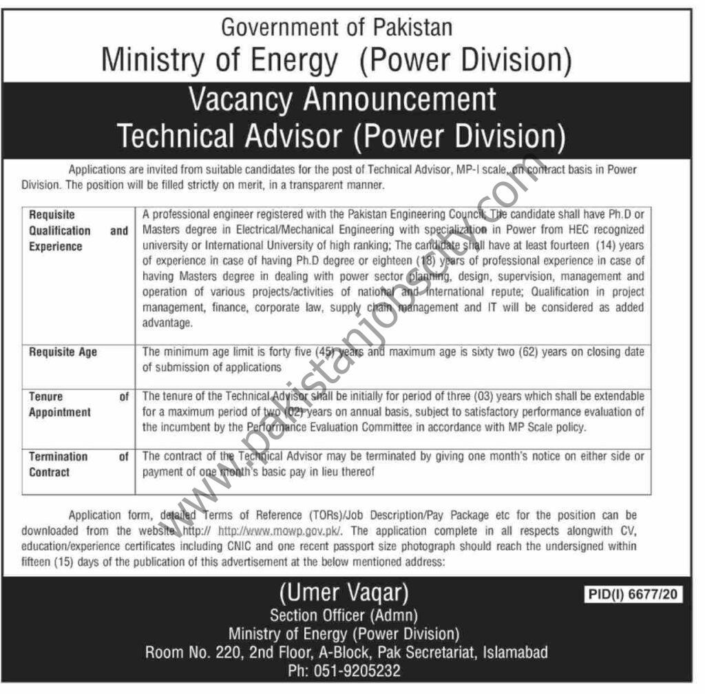 Ministry of Energy (Power Division) Jobs Technical Advisor
