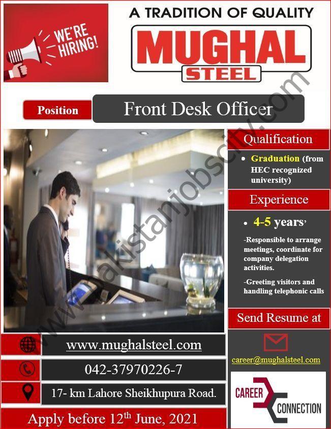Mughal Steel Jobs Front Desk Officer