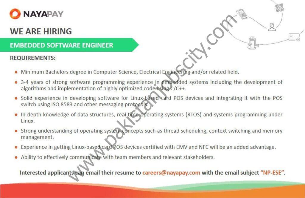 NayaPay Pakistan Jobs Embedded Software Engineer