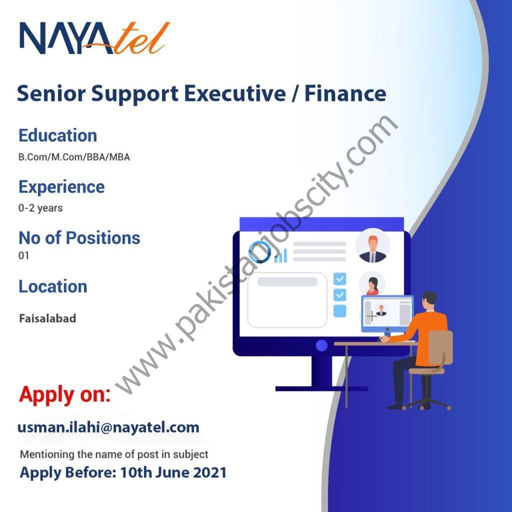 Nayatel Jobs Senior Support Executive / Finance