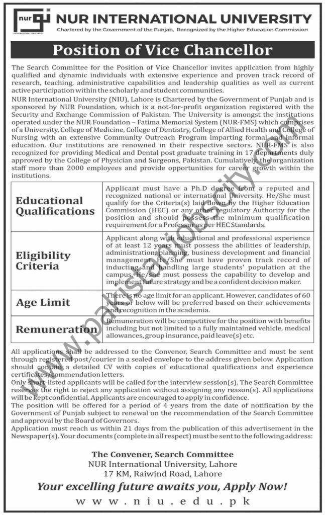 Noor International University Jobs 06 June 2021 Dawn