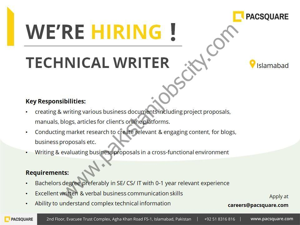 Pacsquare Technologies Jobs Technical Writer