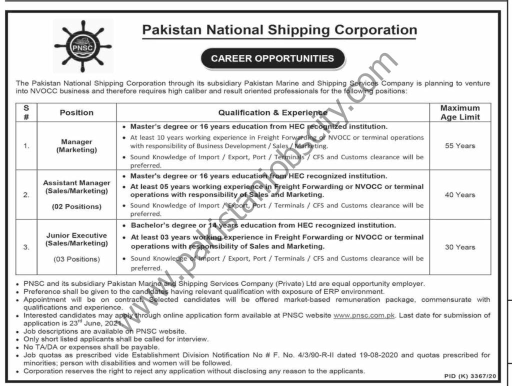 Pakistan National Shipping Corporation PNSC Jobs June 2021