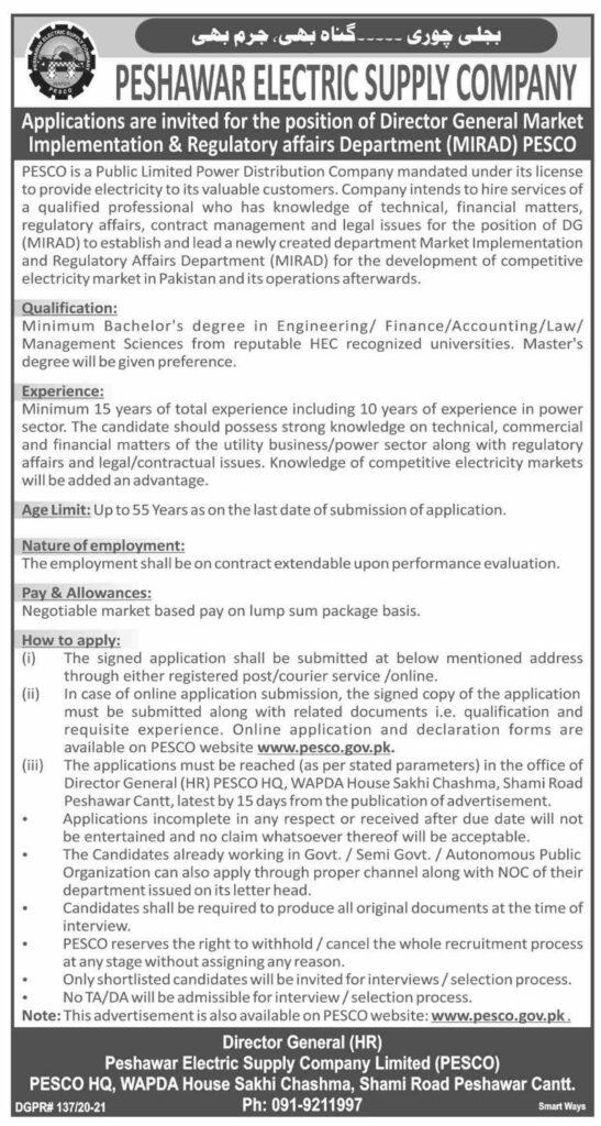 Peshawar Electric Supply Company Limited Pesco Jobs 06 June 2021 Dawn