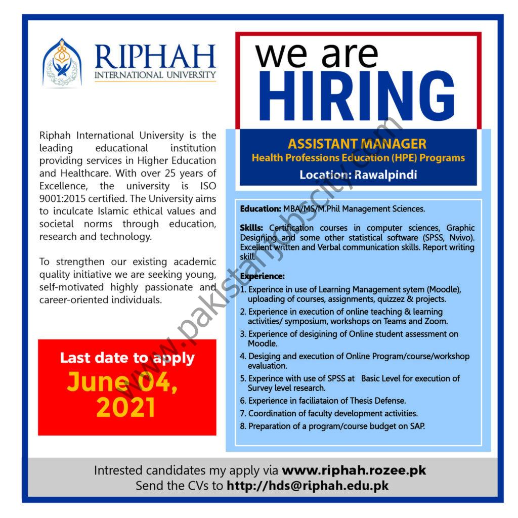 Riphah International University Jobs Assistant Manager