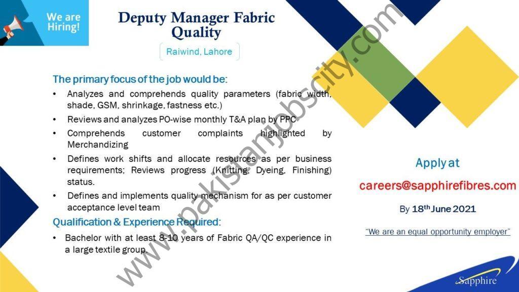 Sapphire Fibres Ltd Jobs June 2021