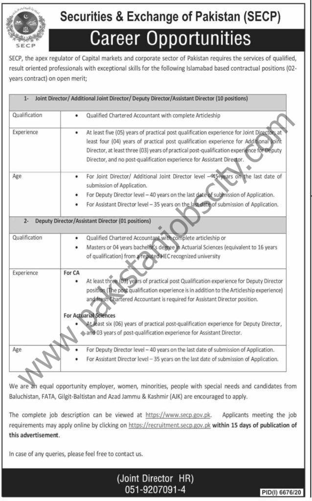 Securities and Exchange of Pakistan SECP Jobs 06 June 2021 Dawn
