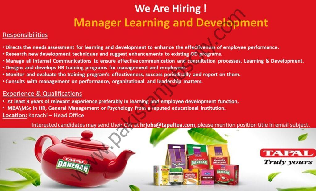 Tapal Tea Pvt Ltd Jobs Manager Learning & Developement