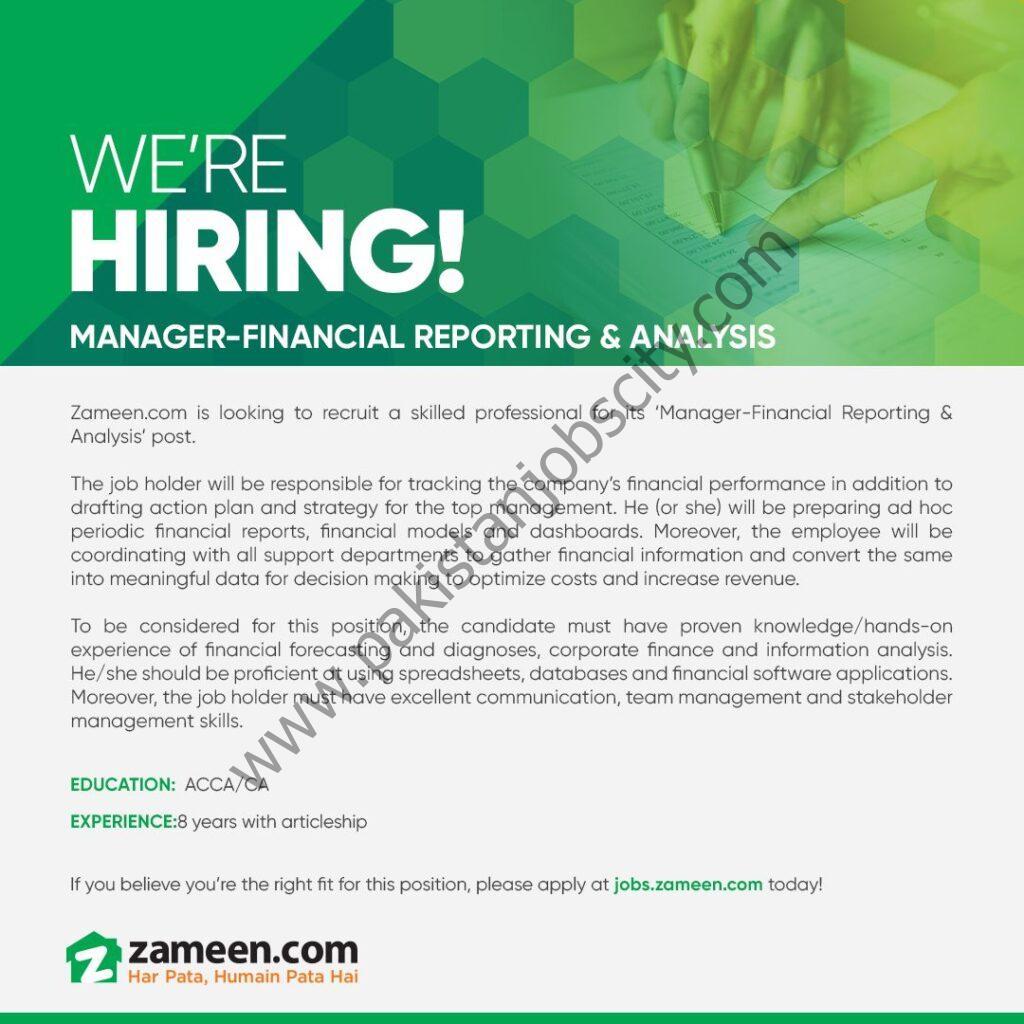 Zameen Pakistan Jobs Manager Financial Reporting & Analysis
