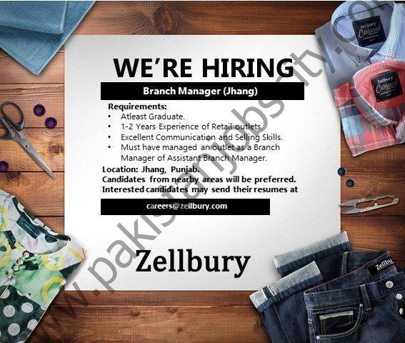 Zellbury Pakistan Jobs Branch Manager