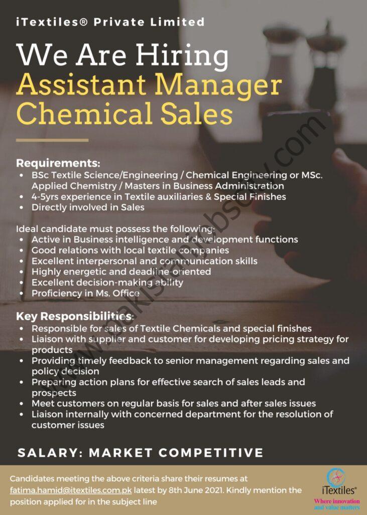 iTextiles Pvt Ltd Jobs Assistant Manager Chemical Sales